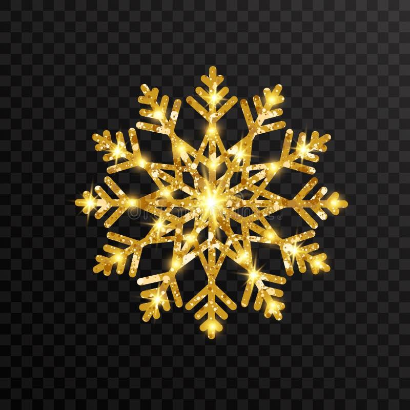 Flocons de neige d'or de scintillement sur le fond transparent Flocon de neige rougeoyant d'or avec la texture de scintillement N illustration libre de droits