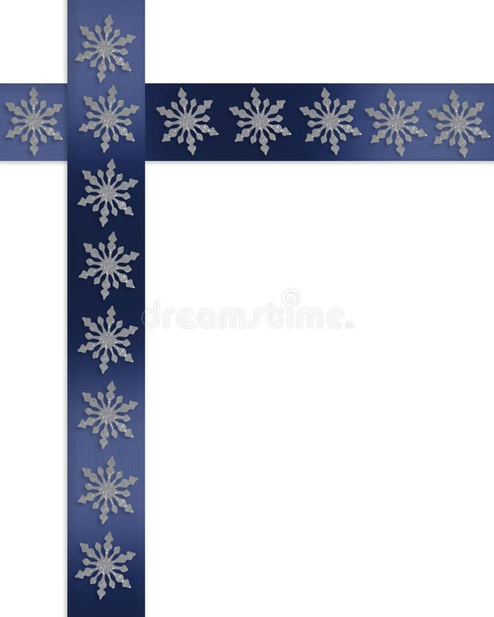 Flocons de neige de cadre de vacances sur les bandes bleues illustration libre de droits