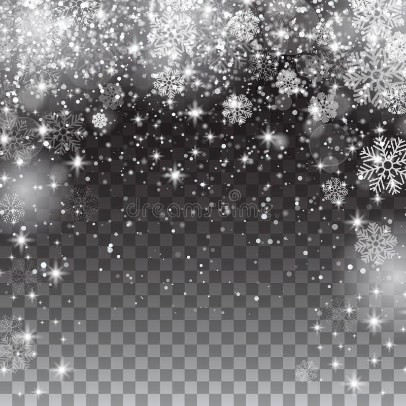 Flocons de neige de neige sur un fond transparent Noël en baisse image stock