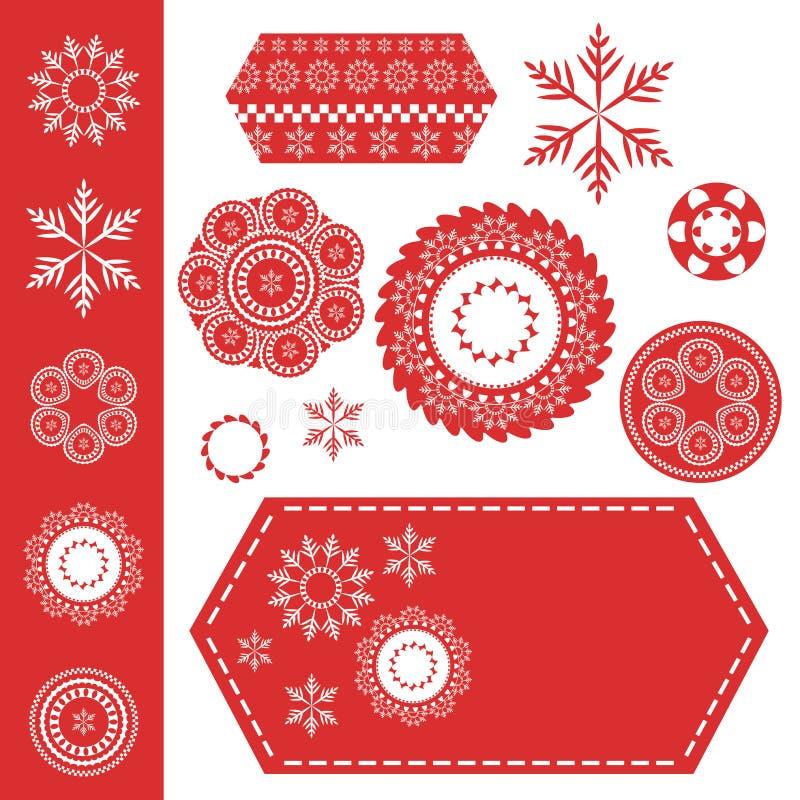 Flocons de neige de Noël ou éléments de conception de dentelle sur l'étiquette rouge avec les stiches blancs illustration stock
