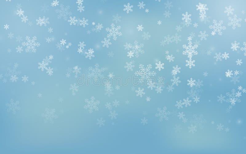 Flocons de neige en baisse de Noël sur le fond bleu Fond de Joyeux Noël Saison de l'hiver Illustration de vecteur ENV 10 illustration de vecteur