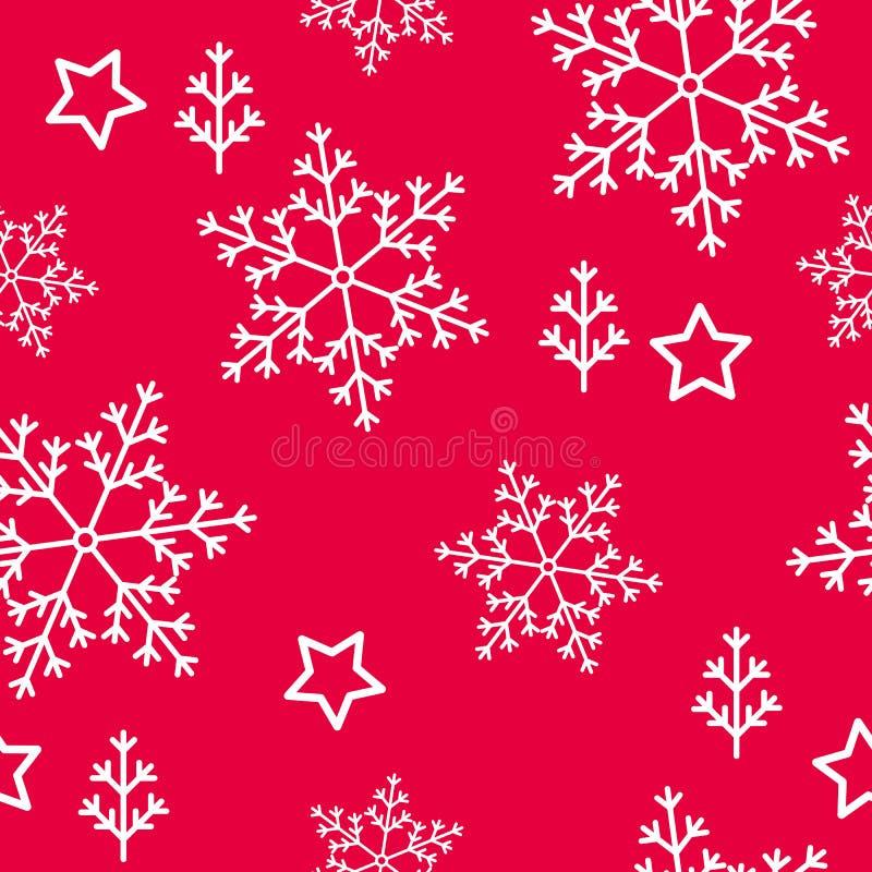 Flocons de neige et étoiles sans couture de modèle d'hiver de décor illustration stock