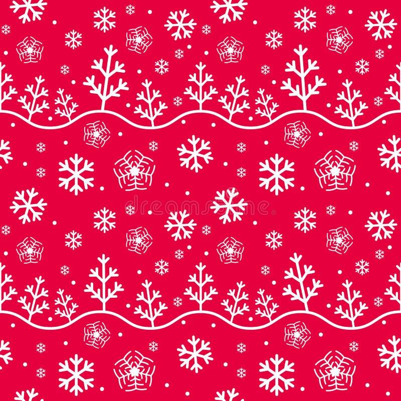 Flocons de neige et arbres sans couture de modèle d'hiver illustration libre de droits