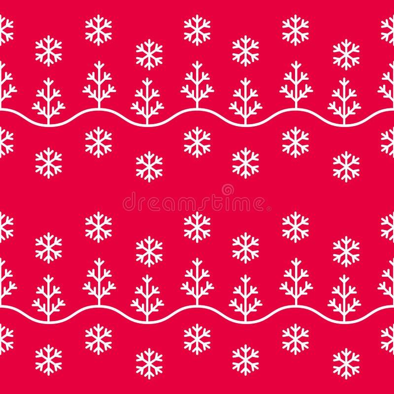 Flocons de neige et arbres sans couture de modèle d'hiver illustration de vecteur
