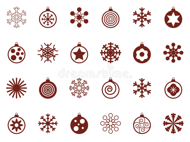 Flocons de neige et babioles illustration stock