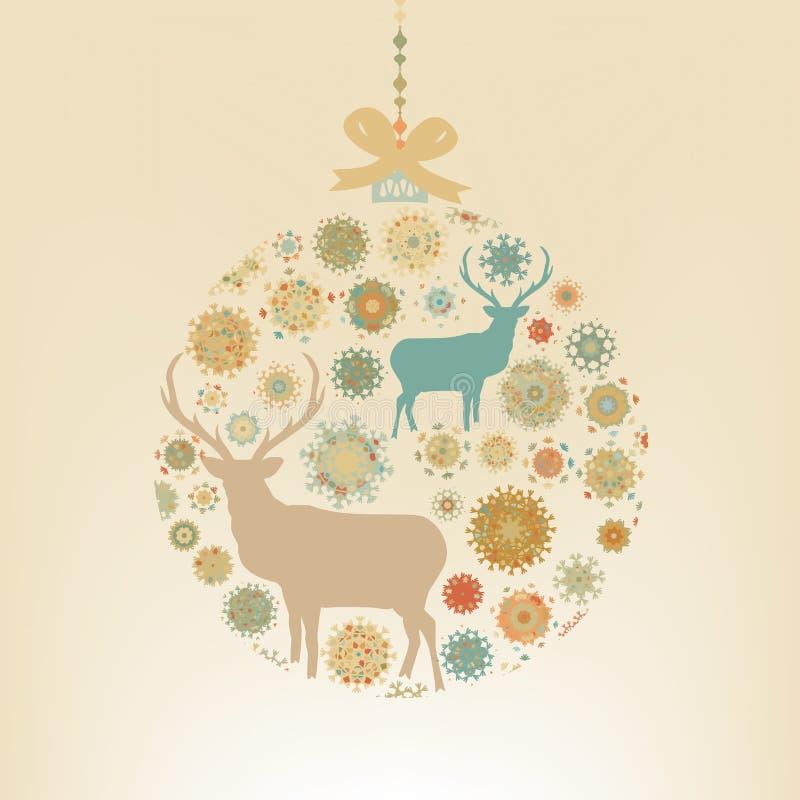 Flocons de neige et cerfs communs de boule de Noël. ENV 8 illustration de vecteur