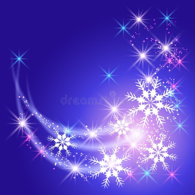 Flocons de neige et salut illustration stock