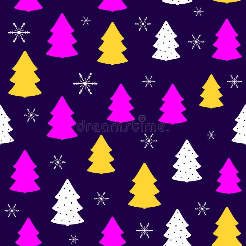 Flocons de neige et silhouettes répétés des arbres de Noël Modèle sans couture coloré de nouvelle année illustration libre de droits