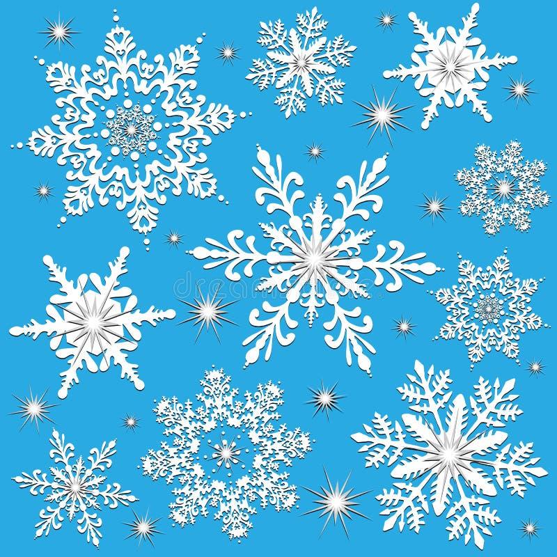 Flocons de neige l'hiver ou Noël illustration de vecteur