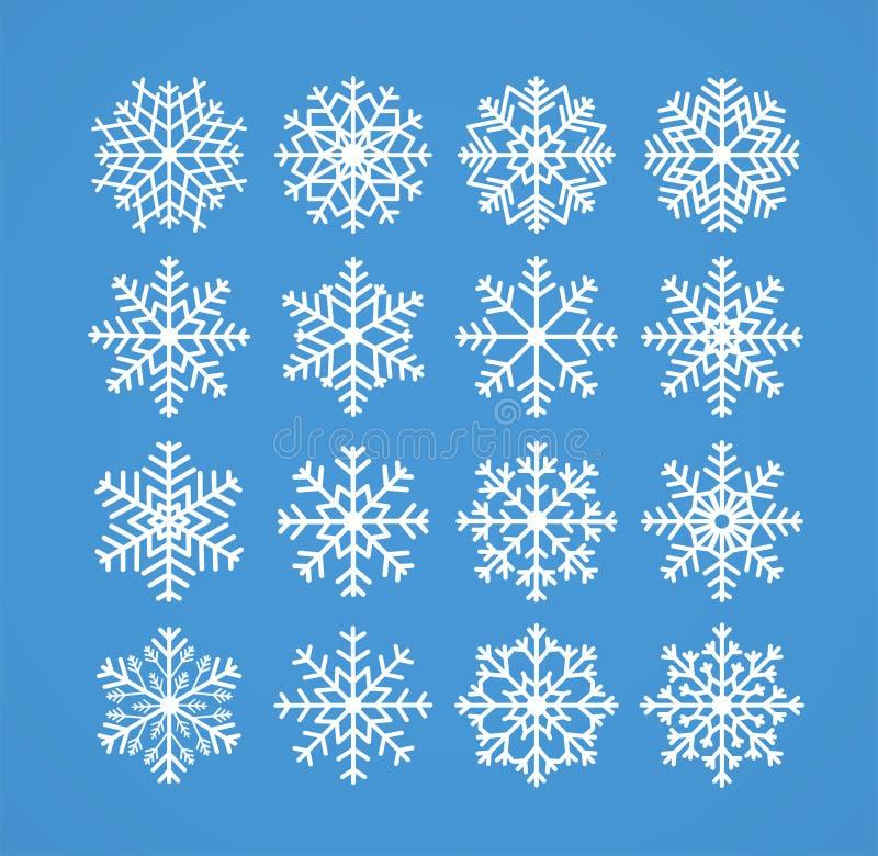 Flocons de neige, ligne de neige givrée de Noël d'hiver icônes sur le fond bleu illustration libre de droits