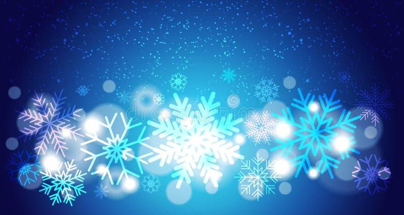 Flocons de neige lumineux Fallking de Bokeh de fond de Noël au-dessus de bleu, concept de décoration de vacances d'hiver illustration stock