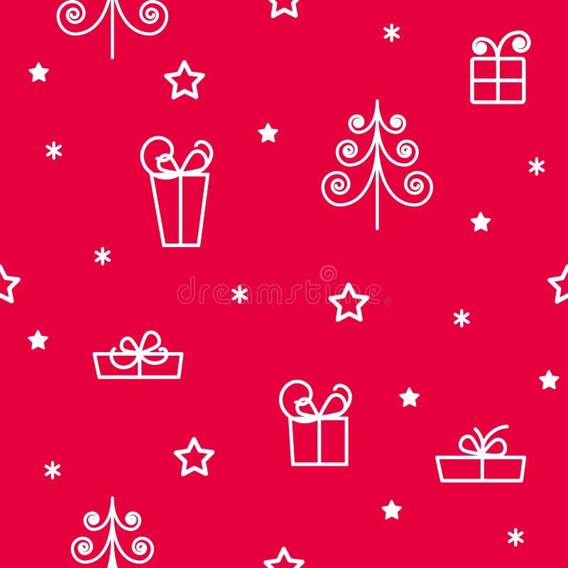 Flocons de neige de modèle d'hiver et étoiles sans couture, cadeaux illustration de vecteur