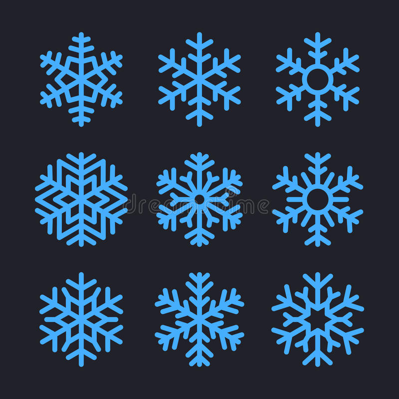 Flocons de neige réglés pour la conception d'hiver de Noël Vecteur illustration libre de droits