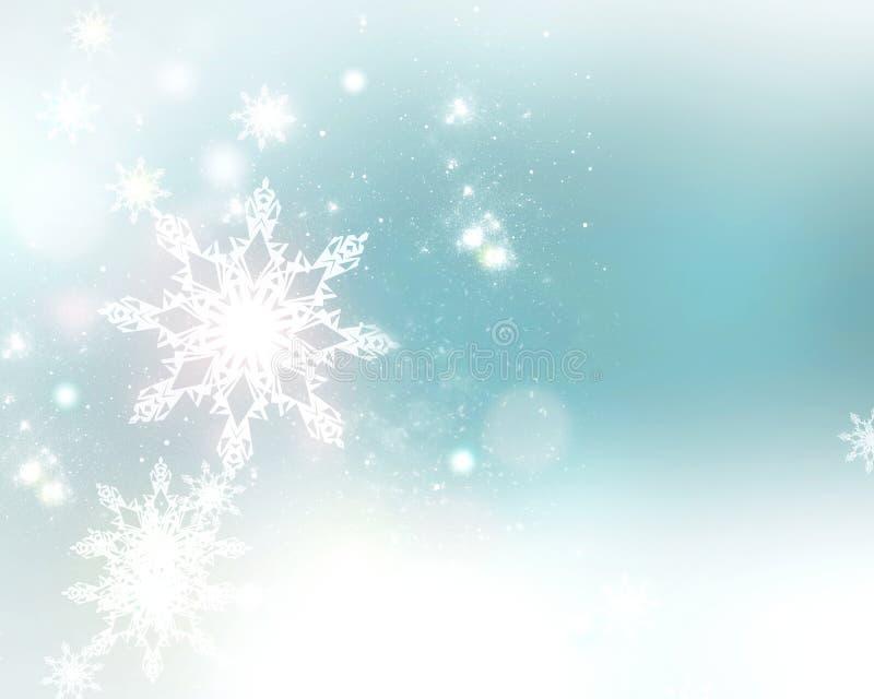 Flocons de neige rougeoyants d'hiver sur le fond de vert bleu illustration libre de droits