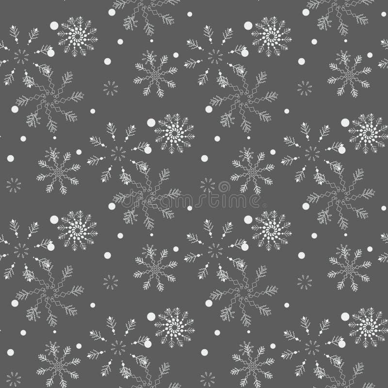 flocons de neige sans joint de configuration La neige tombe fond Hiver de symbole, vacances de Joyeux Noël, illu de vecteur de cé illustration de vecteur