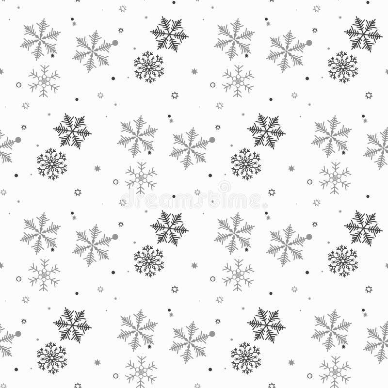 flocons de neige sans joint de configuration La neige tombe fond Hiver de symbole, vacances de Joyeux Noël, illu de vecteur de cé illustration stock