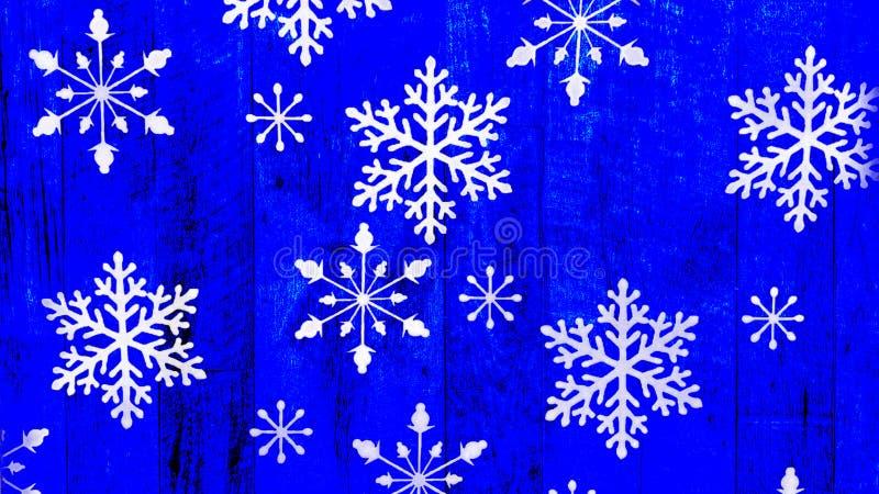 Flocons de neige sur le fond bleu en bois de cru illustration libre de droits