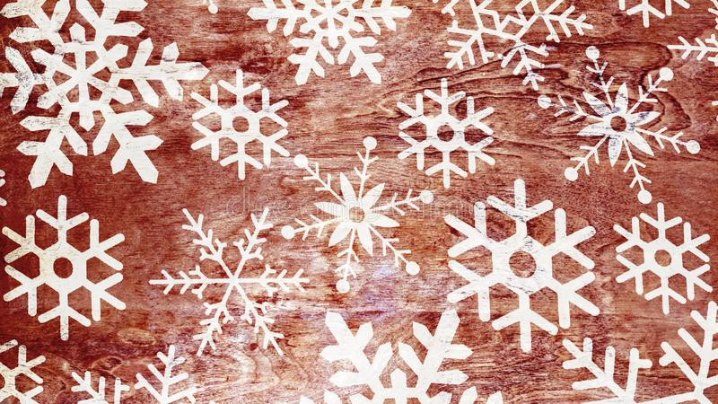 Flocons de neige sur le fond en bois de cru illustration stock