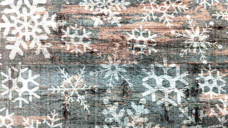 Flocons de neige sur le fond en bois de cru illustration de vecteur