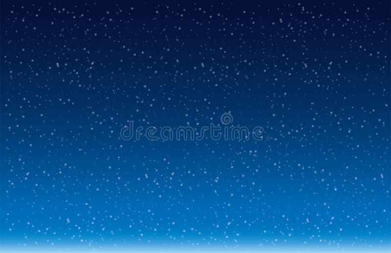 Flocons de neige tombant contre le vecteur bleu de fond illustration libre de droits
