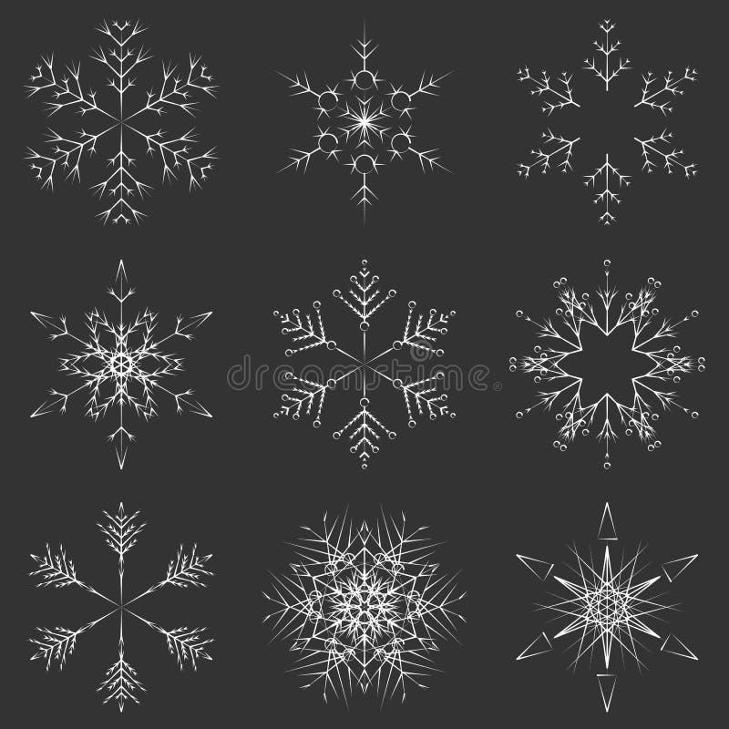 Flocons en cristal abstraits glacials de neige de vecteur illustration libre de droits