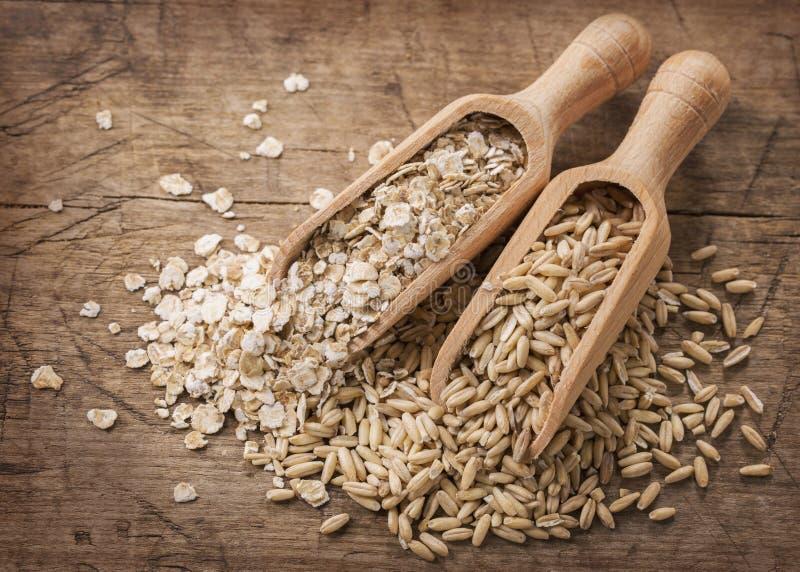 Flocons et graines d'avoine image libre de droits