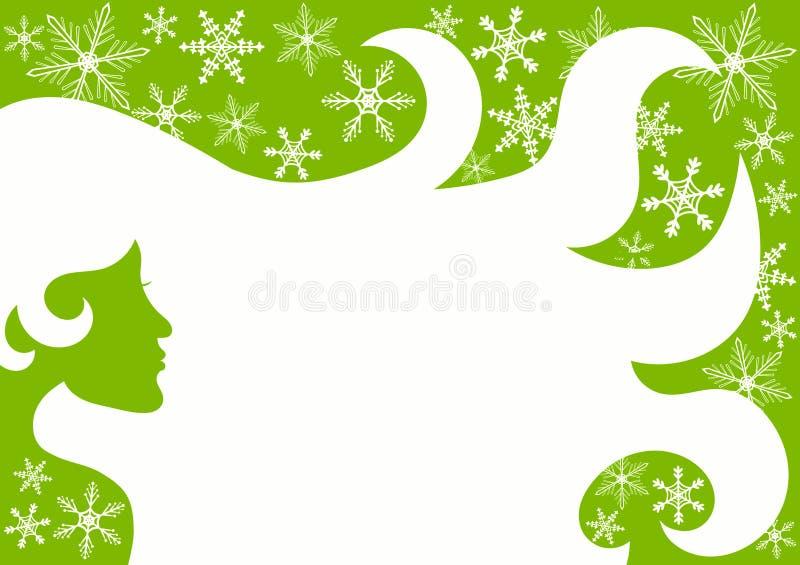 Flocons verts de neige de cheveux de femme de beauté illustration libre de droits