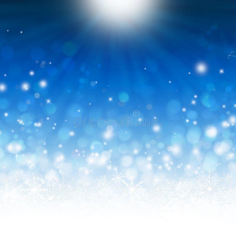 Flocos brilhantes do inverno, cartão de Natal ilustração stock