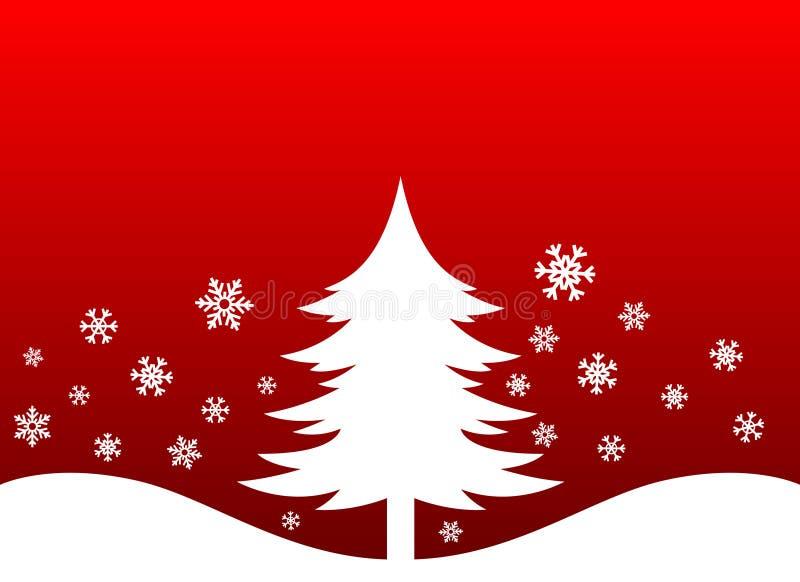 Flocos da árvore e da neve de Natal ilustração do vetor