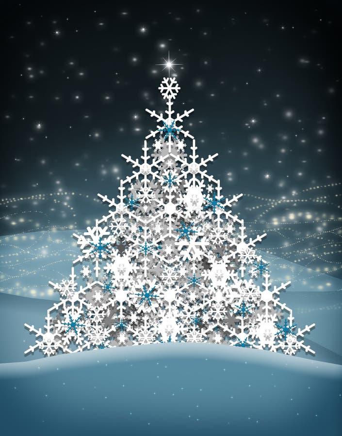 Flocos da neve da árvore de Natal ilustração do vetor
