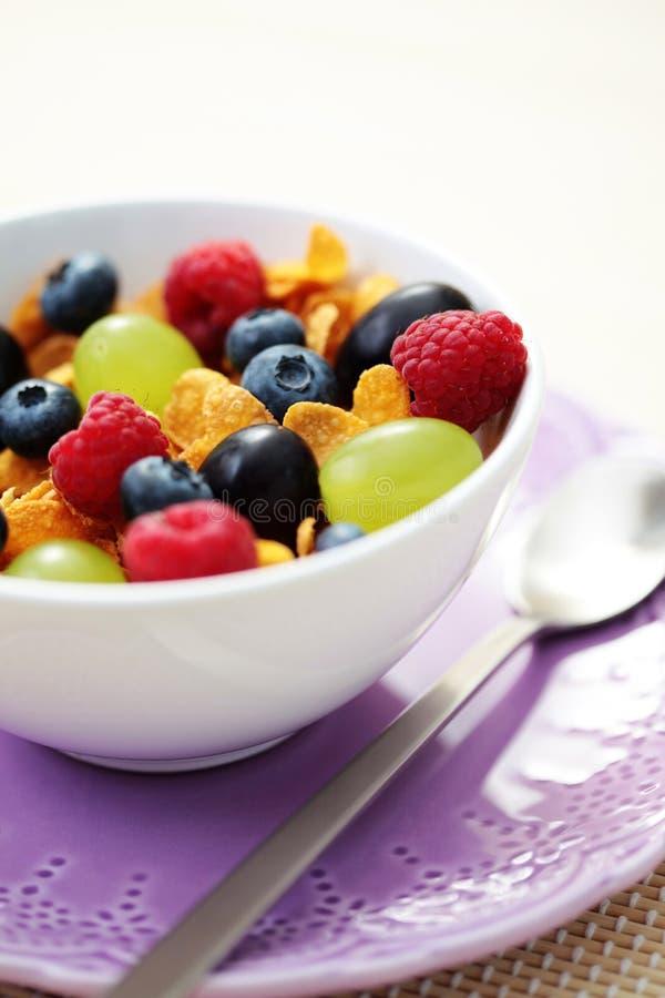 Flocos de milho com frutas imagem de stock royalty free
