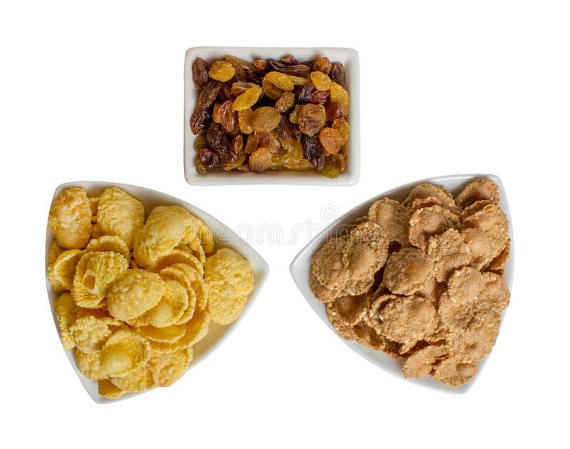 Flocos de milho com passa, café da manhã da aptidão imagem de stock