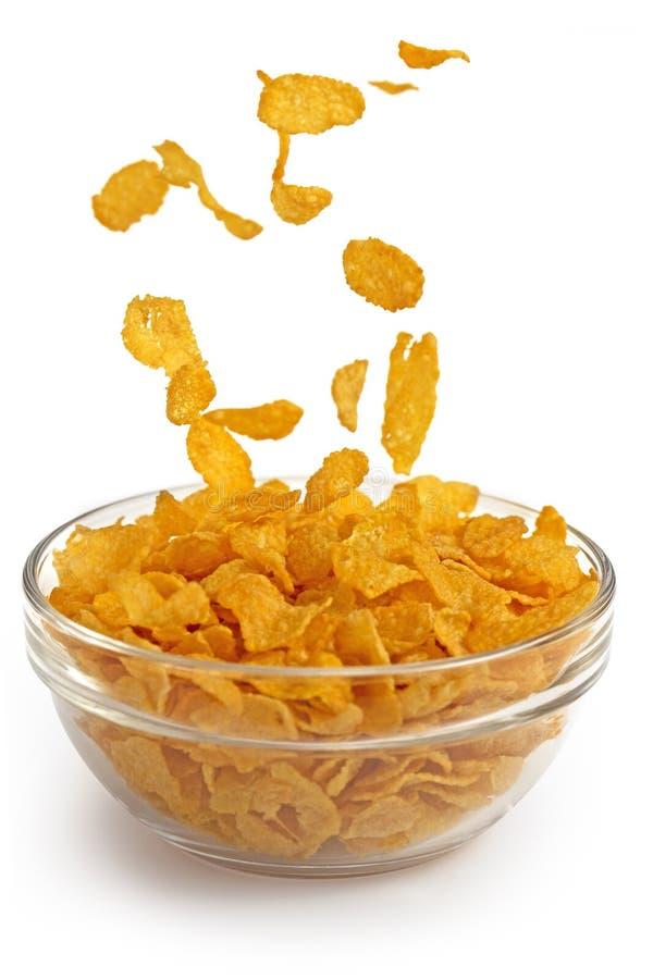 Flocos de milho que caem em uma bacia de vidro imagens de stock royalty free