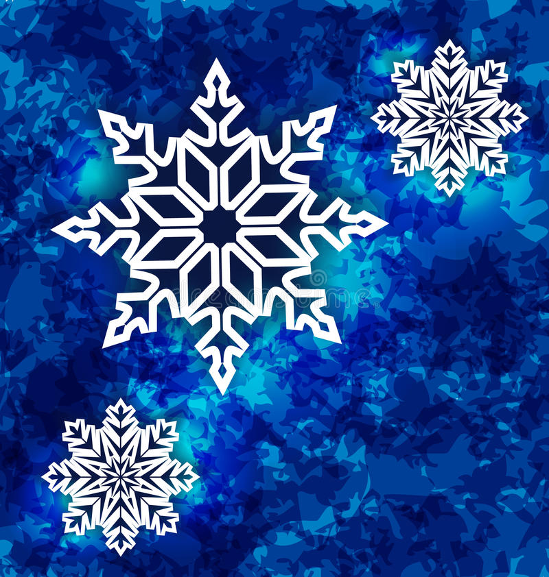 Flocos de neve ajustados do Natal na obscuridade - fundo azul do grunge ilustração stock