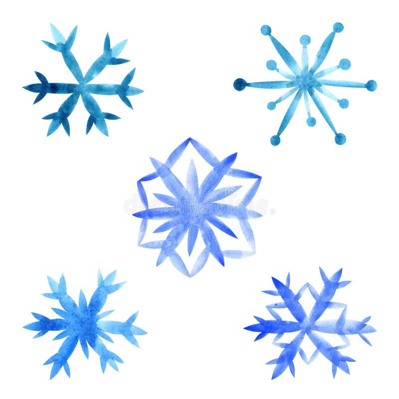 Flocos de neve ajustados em um fundo branco ilustração stock