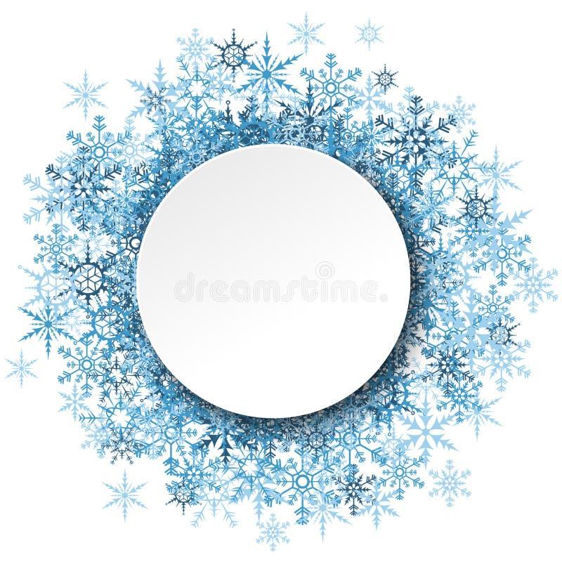 flocos de neve atrás do quadro vazio branco ilustração do vetor