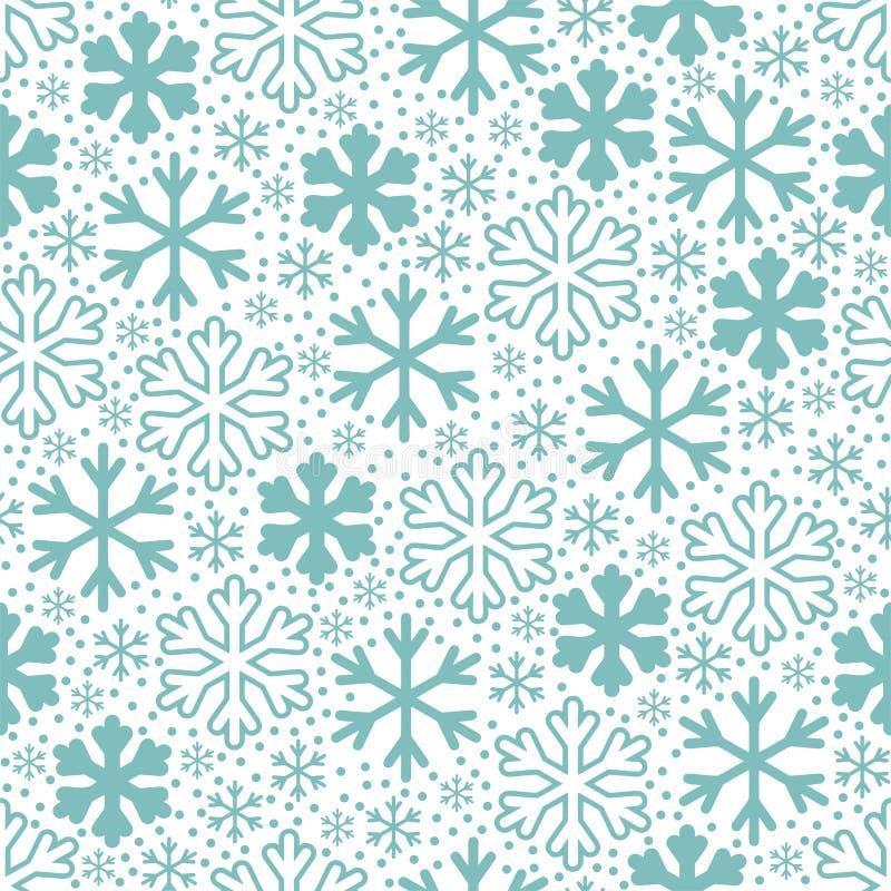 Flocos de neve azuis no fundo branco Teste padrão do vetor do Natal ilustração royalty free
