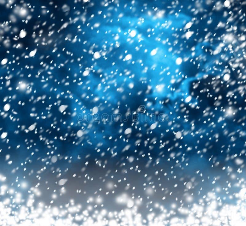Flocos de neve bonitos no fundo abstrato ilustração royalty free