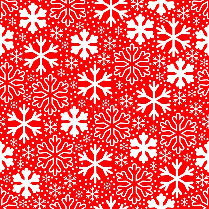 Flocos de neve brancos no fundo vermelho Teste padrão do vetor do Natal ilustração do vetor