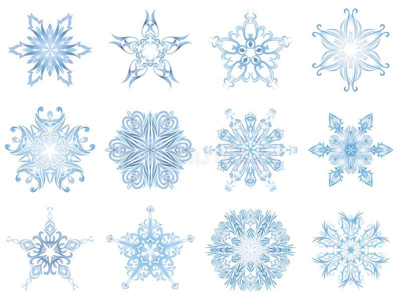 Flocos de neve de cristal destacados ilustração royalty free