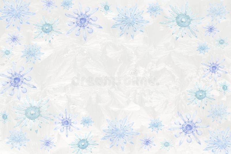 Flocos de neve de cristal no fundo gelado ilustração do vetor