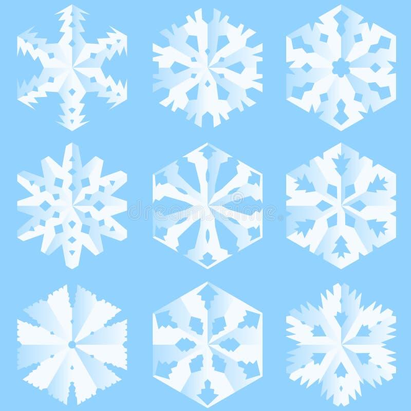 Flocos de neve de papel ilustração royalty free
