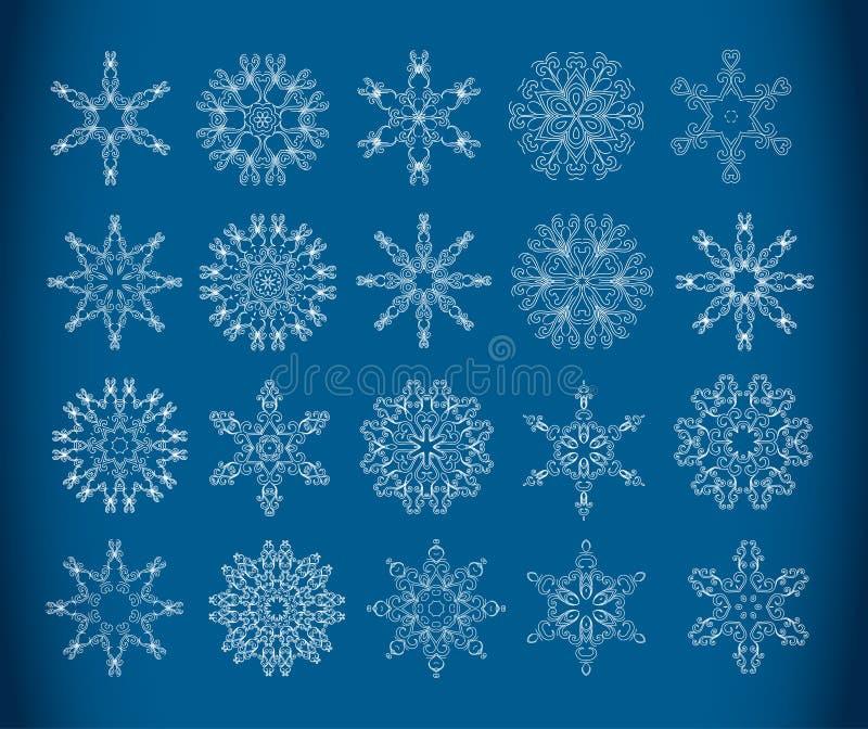 Flocos de neve decorativos ilustração stock