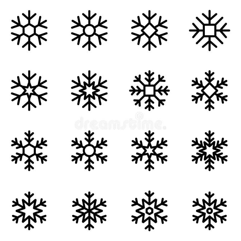 Flocos de neve decorativos do vetor ajustados ilustração royalty free