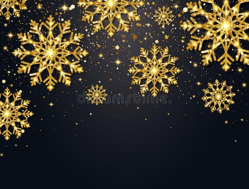 Flocos de neve do brilho com partículas de queda no fundo escuro Flocos de neve de brilho do ouro com a efervescência da poeira d ilustração royalty free