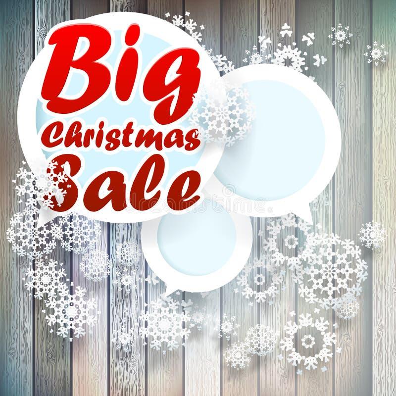 Flocos de neve do Natal com venda grande. ilustração do vetor
