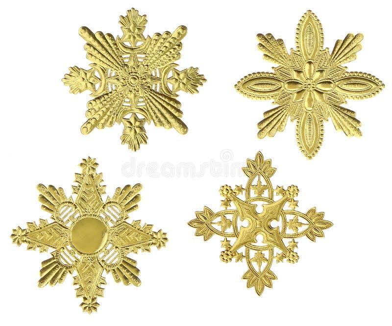 Flocos de neve do ouro foto de stock royalty free