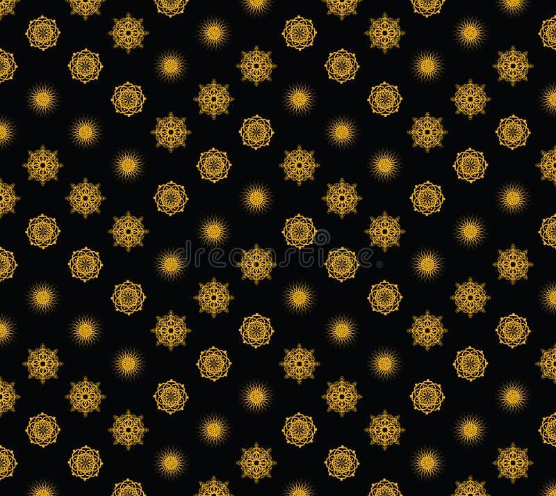 Flocos de neve do ouro do feriado do vetor no fundo preto ilustração stock