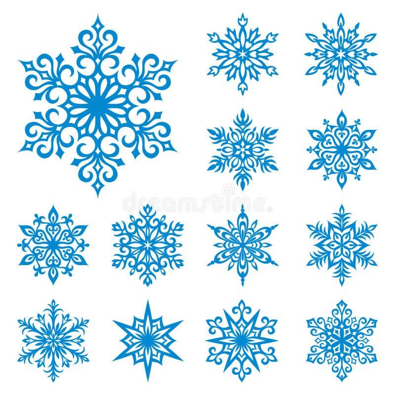 Flocos de neve do vetor ajustados ilustração do vetor