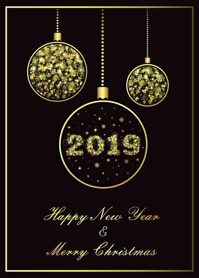 Flocos de neve dourados do cartão do ano novo das bolas do Natal do vetor ilustração do vetor